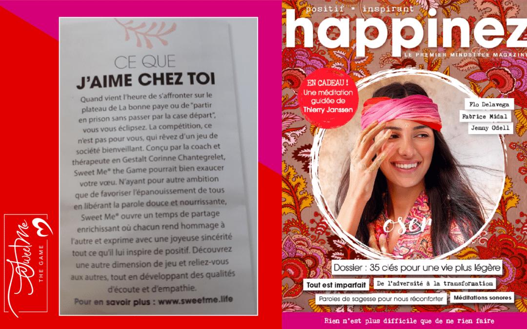Le magazine Happinez Magazine parle de Sweet Me® the Game !